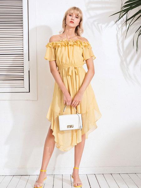 Bally巴利女装品牌2019春夏一字领中长款荷叶边不规则雪纺连衣裙