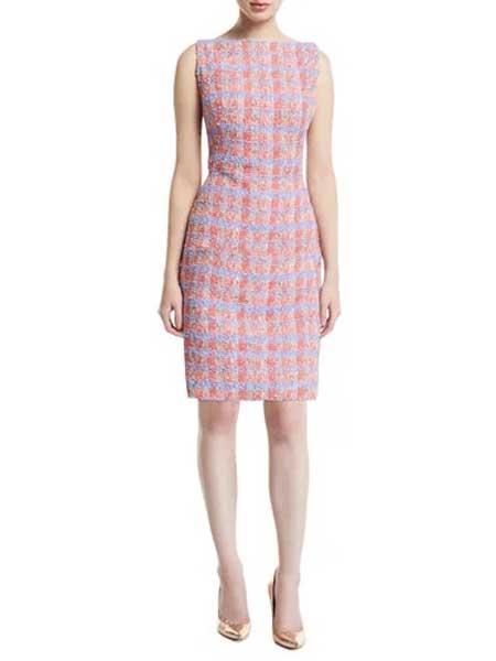 Issey Miyake三宅一生女装品牌2019春夏新款修身显瘦无袖彩色针织连衣裙