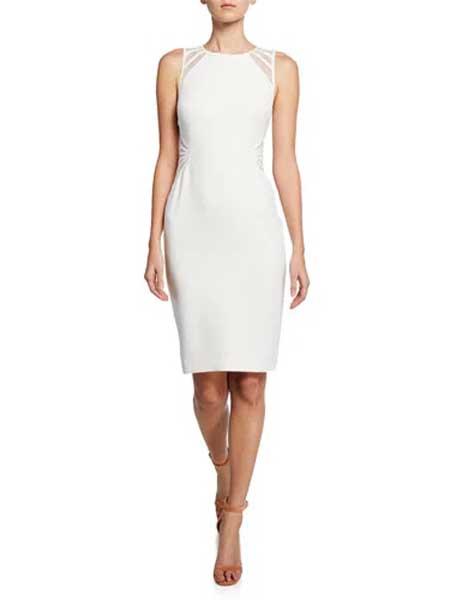 Issey Miyake三宅一生女装品牌2019春夏新款韩版包臀一步裙修身显瘦中长款打底白色连衣裙