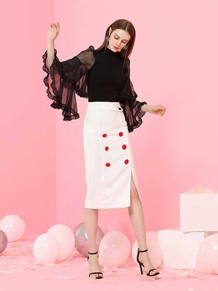 komello女装品牌2019春夏新款气质通勤OL风修身高腰金属双排扣中裙半身裙
