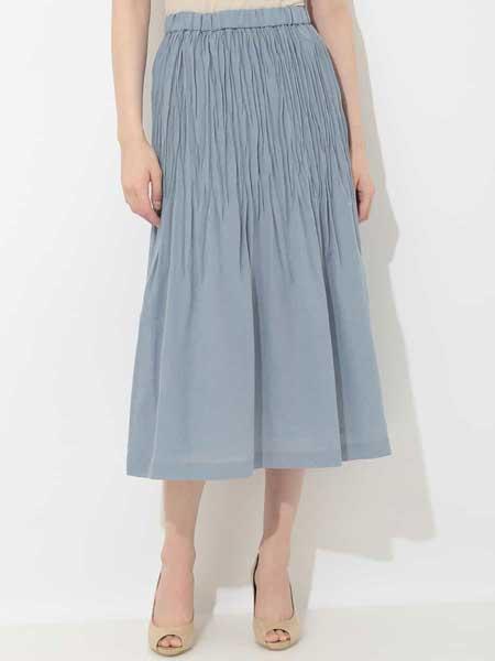 iimk女装品牌2019春夏新款纯色中腰裙子修身中长款百褶裙