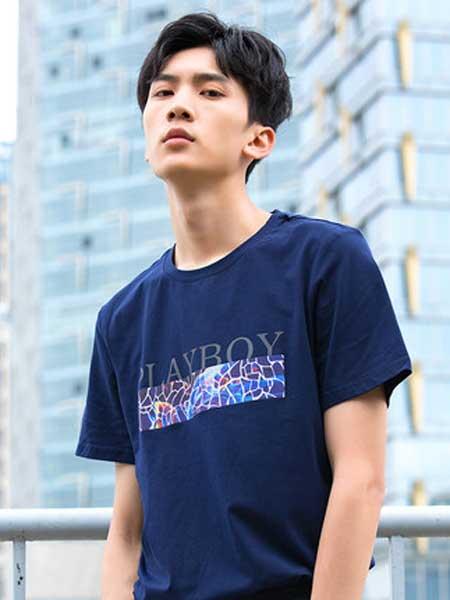 花花公子男装品牌2019春夏新款韩版潮流圆领透气印花青年修身打底衫