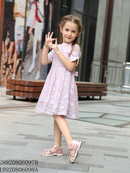 凡兜童装品牌2019春夏新款韩版时尚洋气喇叭袖连衣裙