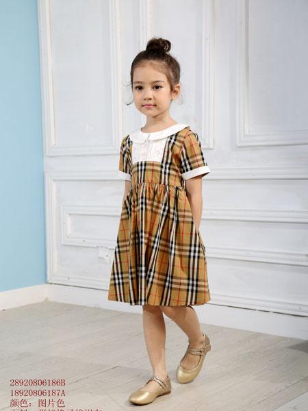 凡兜童装品牌2019春夏纯棉格子衬衫吊带裙短袖T恤裙