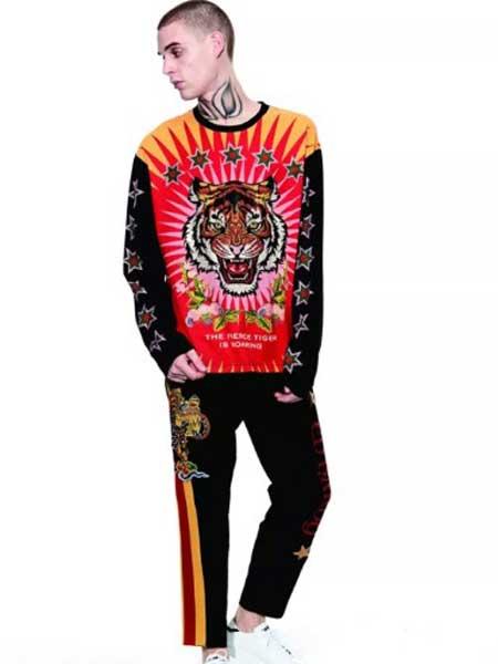 Ed Hardy埃德・哈迪男装品牌2019春夏新款欧美风潮牌时尚个性撞色印花套装