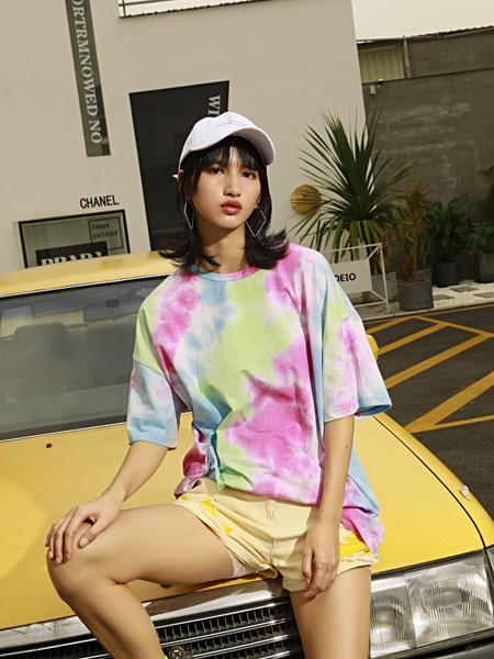H+3女装品牌2019春夏新款韩版时尚宽松中长款百搭圆领扎染短袖T恤