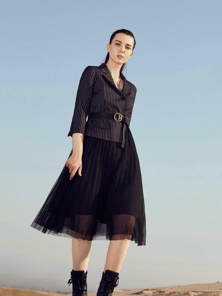 芝仪女装品牌2019秋季新款修身中长裙质假两件小西服职业裙装