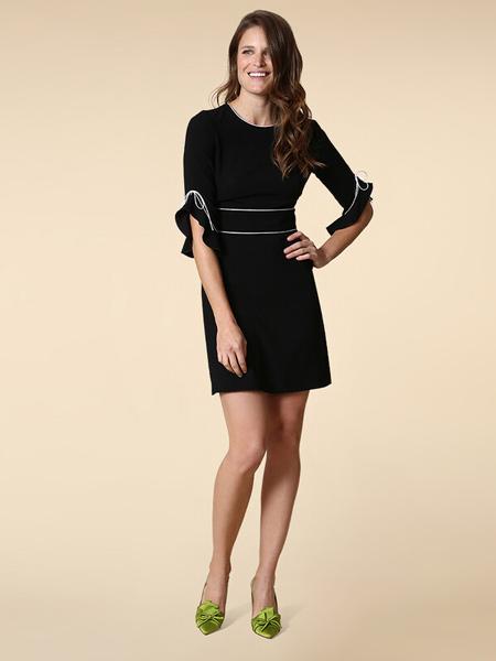 PAULE KA女装品牌2019春夏新款时尚黑色中袖显瘦简约小黑裙
