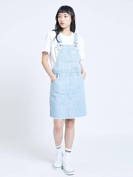 Edwin艾德文女装品牌2019春夏新款宽松显瘦百搭休闲破洞毛边牛仔背带裙