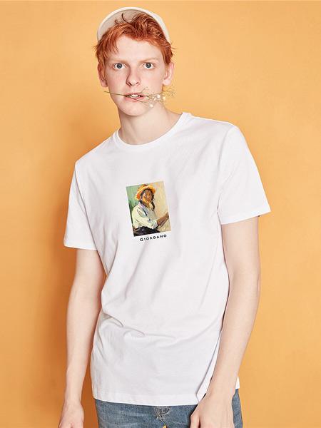 Giordano佐丹奴休闲品牌2019春夏新款韩版个性百搭宽松休闲圆领印花短袖T恤