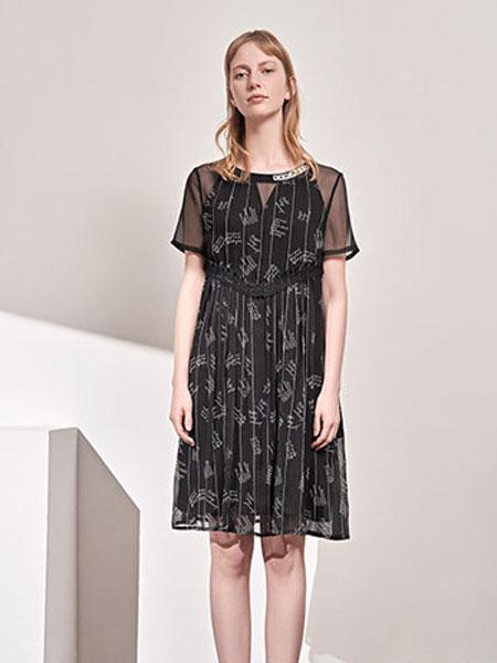澳莉丝女装品牌2019春夏新款高腰荷叶边气质雪纺连衣裙