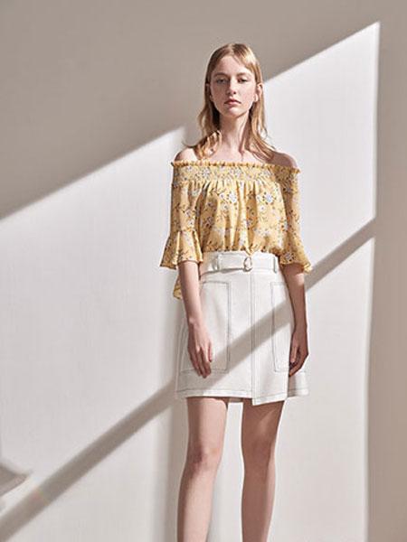 澳莉丝女装品牌2019春夏黄色一字肩碎花雪纺上衣花边露肩短袖衫