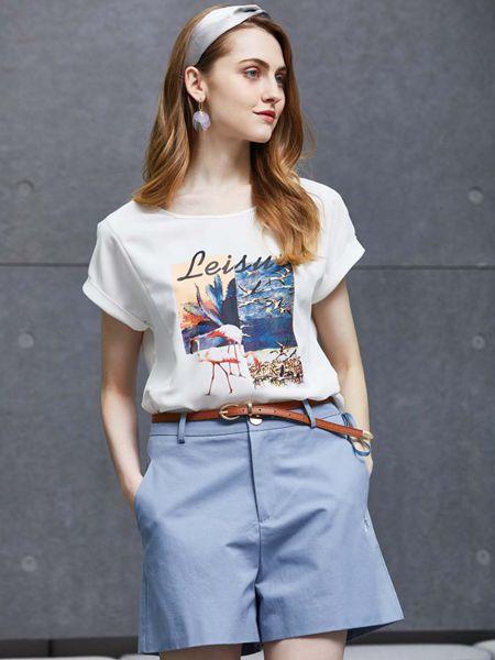 讴歌德女装品牌2019春夏新款印花图案半袖T恤衫