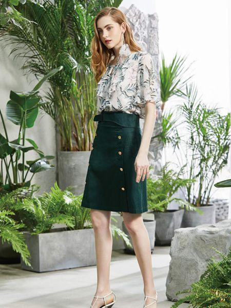 讴歌德女装品牌2019春夏新款高腰显瘦百搭复古墨绿色双排扣半身裙a字裙
