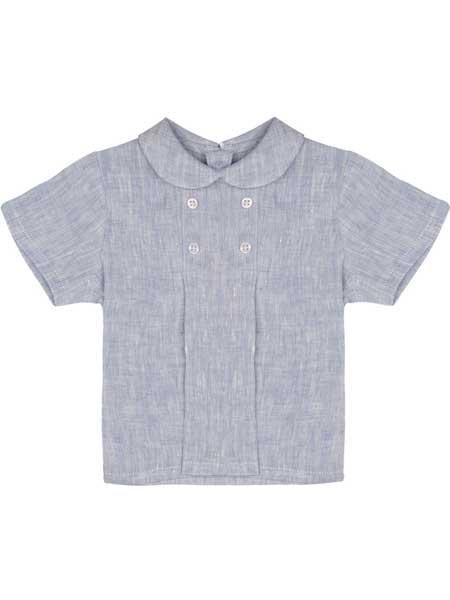 TheTot童装品牌2019春夏新款韩版短袖格子衬衫百搭纯棉翻领上衣
