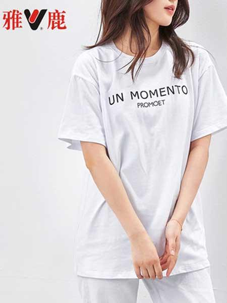 雅鹿女装品牌2019春夏新款短袖圆领韩版纯棉宽松T恤衫