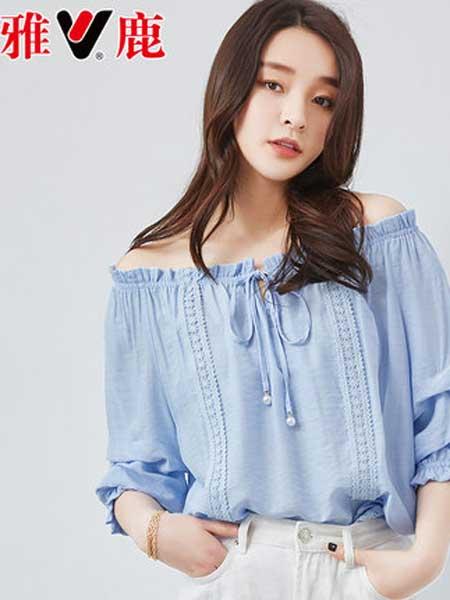 雅鹿女装品牌2019春夏新款韩版一字肩宽松显瘦百搭洋气小衫很仙的上衣