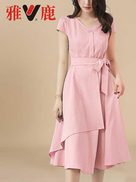 雅鹿女装品牌2019春夏新款韩版气质修身高腰V领不规则长裙仙女甜美连衣裙