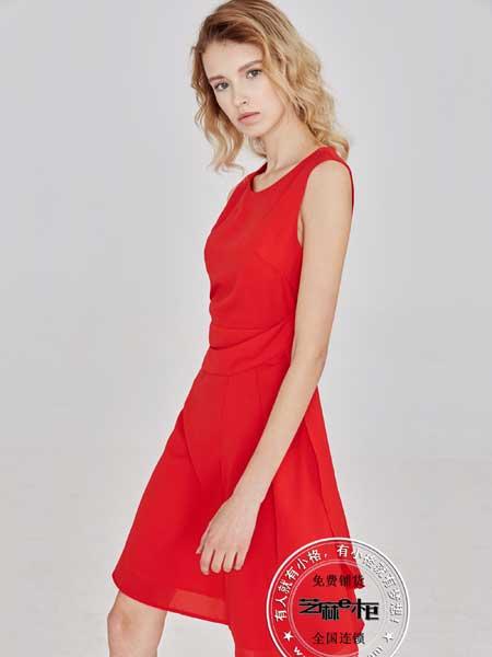 芝麻e柜女装品牌2020春夏新款韩版修身纯色圆领雪纺无袖连衣裙