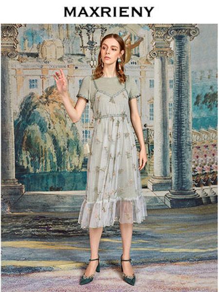 玛克茜妮女装品牌2019春夏新款圆领短袖印花吊带两件套连衣裙女中长款纱裙