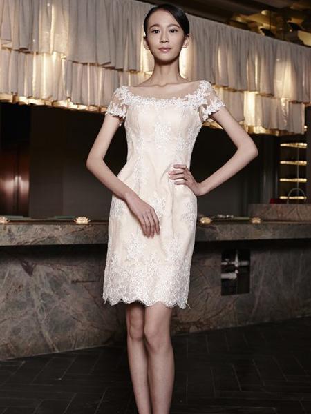 galatea bridal葛澜婚纱婚纱/礼服品牌2019春夏新款修身收腰显瘦性感气质无袖蕾丝裙子