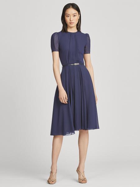 Polo Ralph Lauren休闲品牌2019春夏新款洋气减龄韩版收腰显瘦过膝雪纺连衣裙