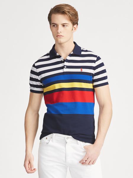 Polo Ralph Lauren休闲品牌2019春夏新款时尚休闲翻领修身条纹短袖T恤百搭上衣