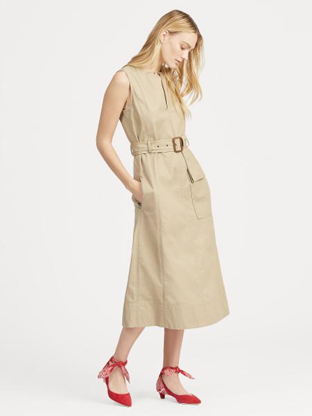 Polo Ralph Lauren休闲品牌2019春夏新款斜纹布配腰带无袖连衣裙