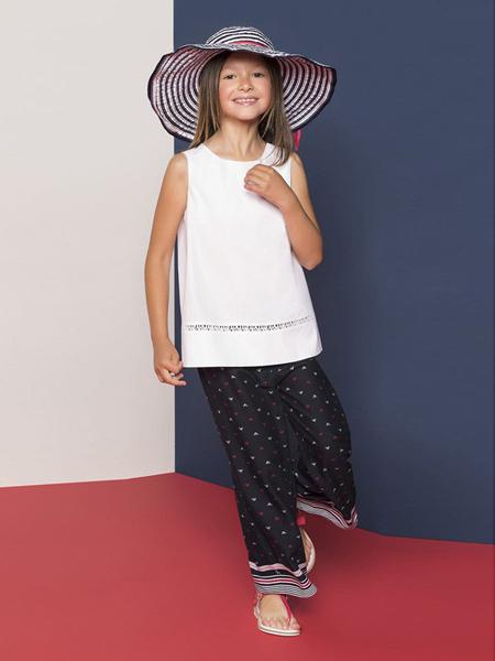 阿玛尼童装品牌新款休闲范无袖百褶拼接罩衫