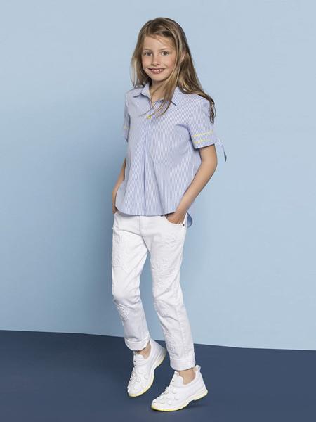 阿玛尼童装品牌新款时尚短袖清新宽松衬衣