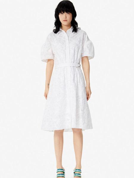 高田贤三 (KENZO)女装品牌2019春夏新款时尚全棉花纹优雅甜美收腰短袖连衣裙