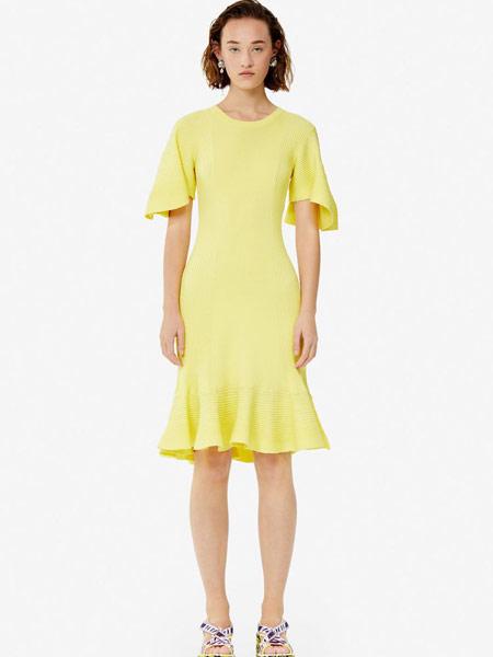高田贤三 (KENZO)女装品牌2019春夏新款荷叶边时尚圆领短袖连衣裙