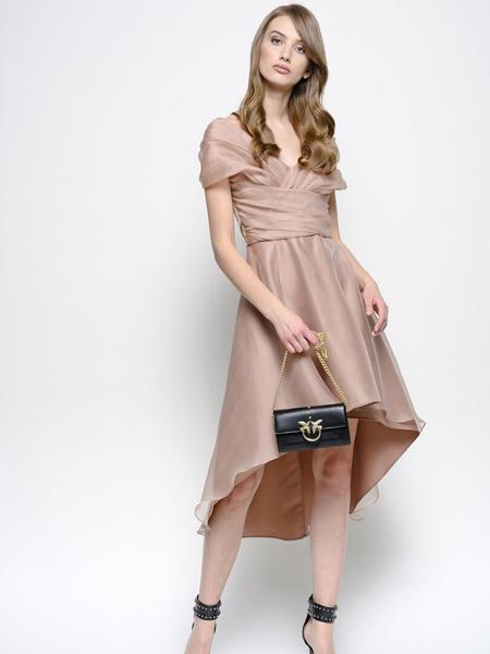 Pinko女装品牌2019春夏新款浅粉色褶皱交叉V领短袖连衣裙