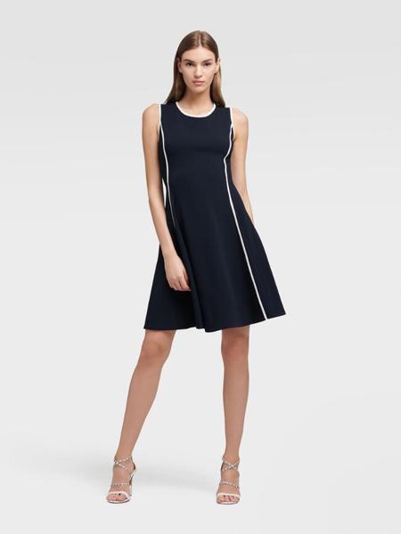 DKNY唐可娜儿女装品牌2019春夏新款中长款韩版宽松百搭背心裙无袖冰丝针织连衣裙