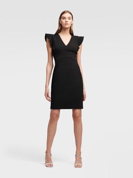 DKNY唐可娜儿女装品牌2019春夏新款简约V领气质蝴蝶袖高腰显瘦减龄中长通勤连衣裙