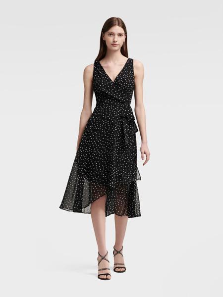 DKNY唐可娜儿女装品牌2019春夏新款圆点雪纺前后V领低背腰带无袖裹式连衣裙