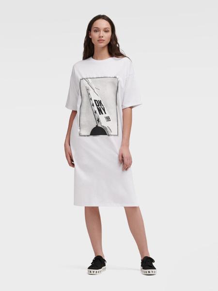 DKNY唐可娜儿女装品牌2019春夏新款图案印花宽松纯棉短袖T恤连衣裙