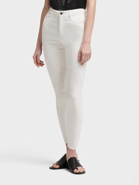 DKNY唐可娜儿女装品牌2019春夏新款白色中腰紧身长裤牛仔裤