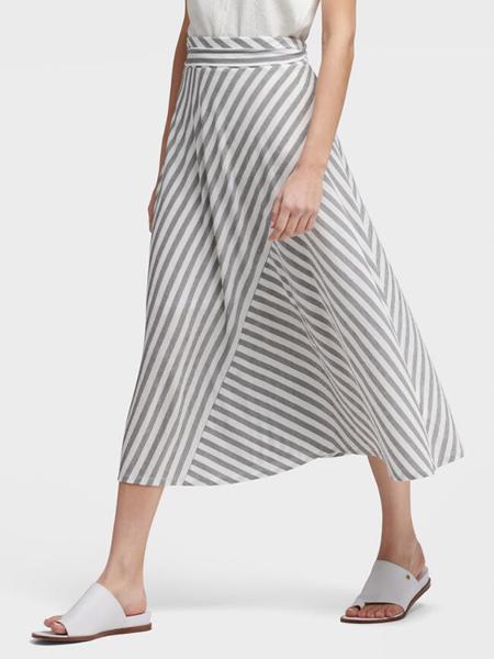 DKNY唐可娜儿女装品牌2019春夏新款淑女范OL斜条纹绳腰喇叭型半身裙