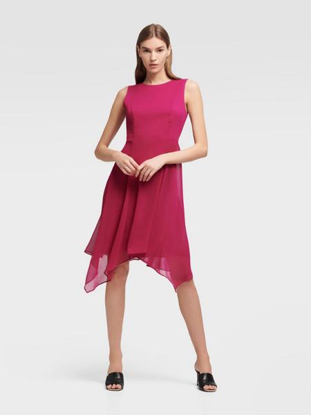 DKNY唐可娜儿女装品牌2019春夏新款时尚圆领无袖不规则裙摆连衣裙