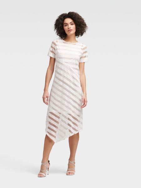 DKNY唐可娜儿女装品牌2019春夏新款斜条纹薄纱圆领短袖不对称直腰连衣裙