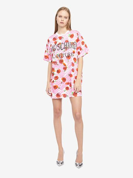 莫斯奇诺休闲品牌2019春夏新款时尚粉色玫瑰印花撞色连衣裙