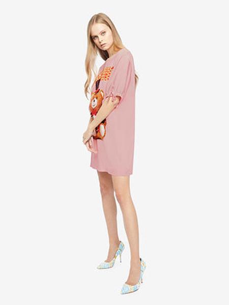 莫斯奇诺休闲品牌2019春夏新款字母印花宽松短袖t恤连衣裙