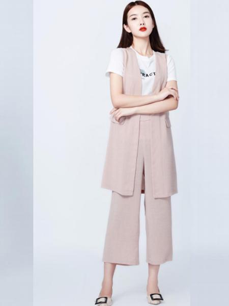 妍可唯女装品牌2019春夏新款T恤洋气马甲中长款宽松阔腿裤三件套潮