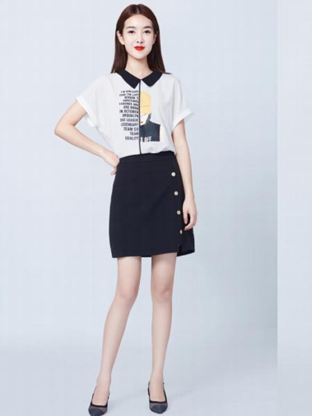 妍可唯女装品牌2019春夏新款高腰半身裙修身显瘦一步裙短裙