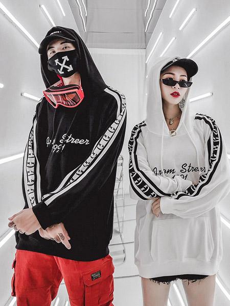 HZHF亲子情侣品牌2019秋季新款百搭多色字母印花袖子拼接套头连帽卫衣潮