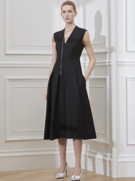 Giada迦达女装品牌2019春季新款名媛风气质收腰显瘦中长款休闲黑色长裙连衣裙
