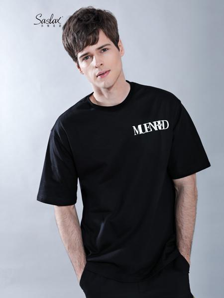 莎斯莱思男装品牌2019春夏新款潮牌体恤打底衫纯棉圆领宽松短袖t恤