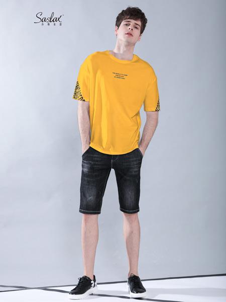莎斯莱思男装品牌2019春夏新款韩版潮流宽松短袖t恤