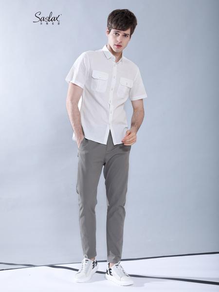 莎斯莱思男装品牌2019春夏新款韩版潮流衬衣休闲简约短袖衬衫